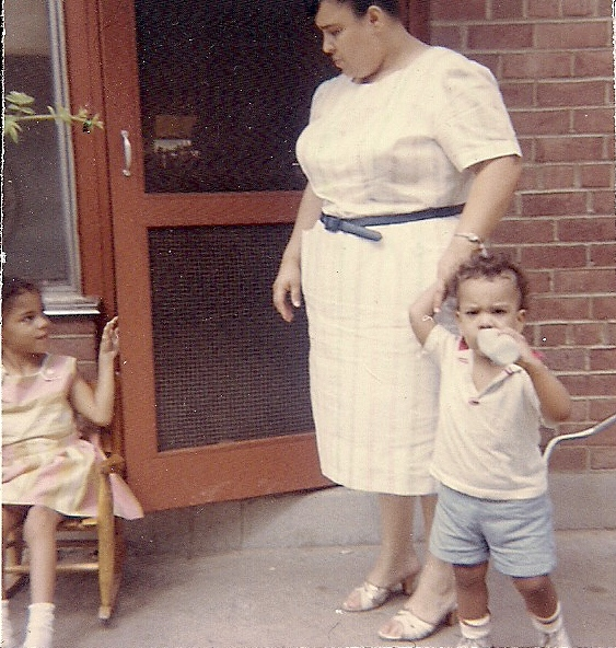 Mom and I with my Sister, June at our cousins' in Washington, DC.  I was about 1 1/2-2 years old.